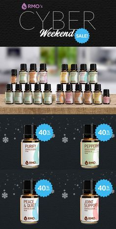 Cyber Weekend Sale - Our entire collection of essential oils, blends, and diffusers is 20% Off and a selection of our favorites is 30%-40% Off! Save 40% Off Joint Support, Peppermint, Relieve Me, Geranium, Peace & Quiet, Grapefruit, Purify, and Skin Care. Save 30% Off Aligning, Lemongrass, True Blue, Blend Of Melissa, Lavendar Hungary, Orange, Citrus Blend, Lemon, Cedarwood, and Lavender Bulgaria.   Free Economy Domestic Shipping