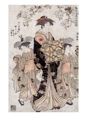 The Courtesan Chozan of Chojiya, Japanese Wood-Cut Print Poster tekijänä Lantern Press AllPosters.fi-sivustossa