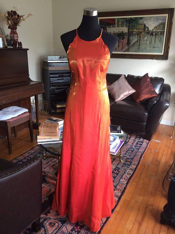 Vintage 1980s 1990s Dress Metallic Lurex Dress Orange Lurex