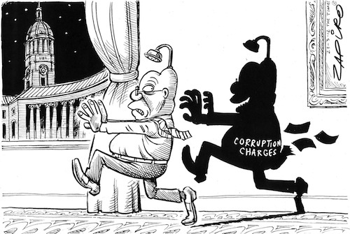 Zapiro depicts Jacob Zuma in the shadow of his corruption charges. | www.zapiro.com