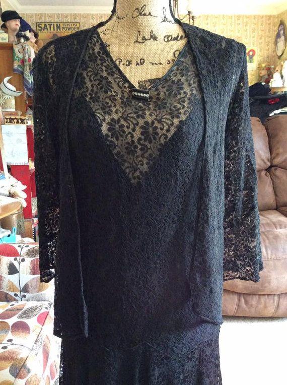 Vintage 1920s 1930s Dress & Matching Jacket Black Lace