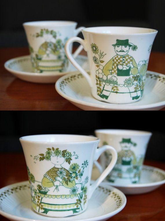 Figgjo Flint Market design coffee cups set of 2. by UkiDukiVintage, $25.00