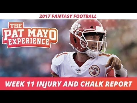 2017 Fantasy Football - Week 11 NFL Injury Report & DraftKings Milly Maker Chalk Picks and Pivots