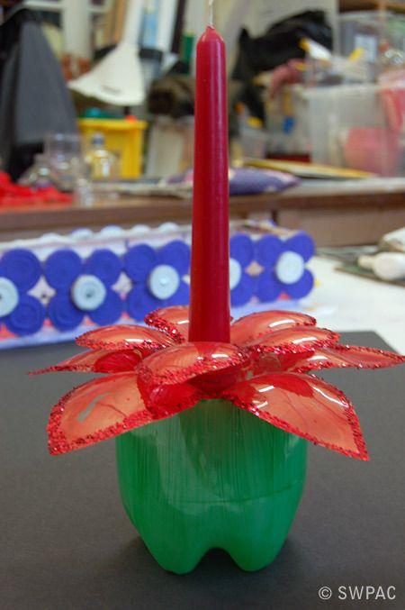 plastic bottle festive candle holder by Talia