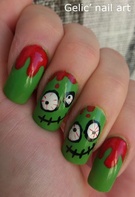 Gelic' nail art: Cute n' crazy green bloody zombie nail art
