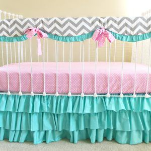 Pink And Turquoise Chevron Baby Bedding