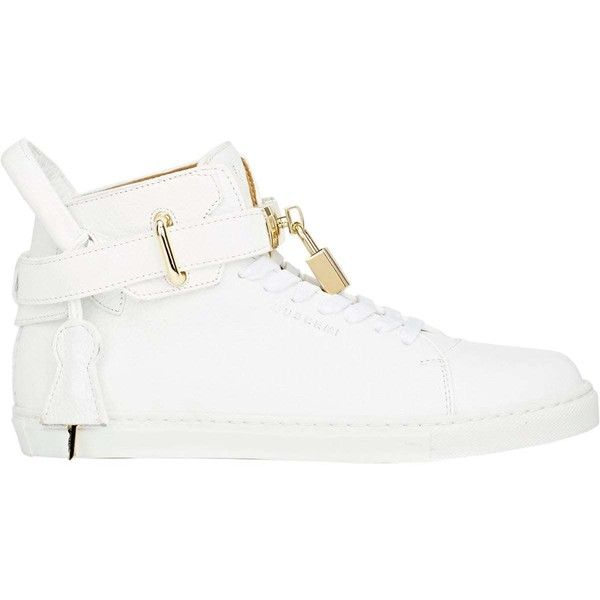 Buscemi Women's Women's 100MM Sneakers (£680) ❤ liked on Polyvore featuring shoes, sneakers, white, white leather high tops, white shoes, leather lace up sneakers, white high tops and high-top sneakers