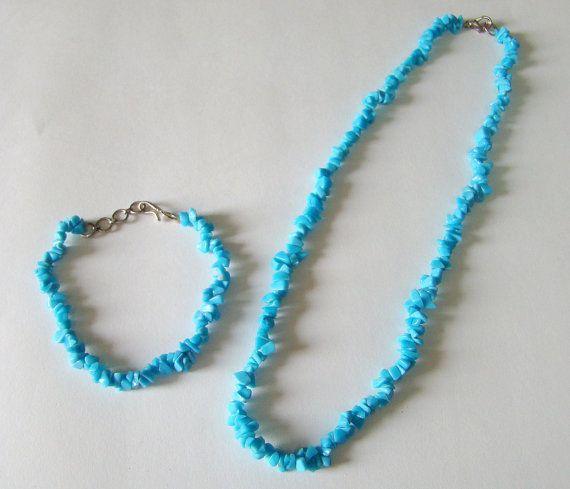 Necklace & Bracelet Set Turquoise Chips 100% Natural Authentic Certified Gemstone Single Strand Yoga India Chakra Balance Spiritual Healing
