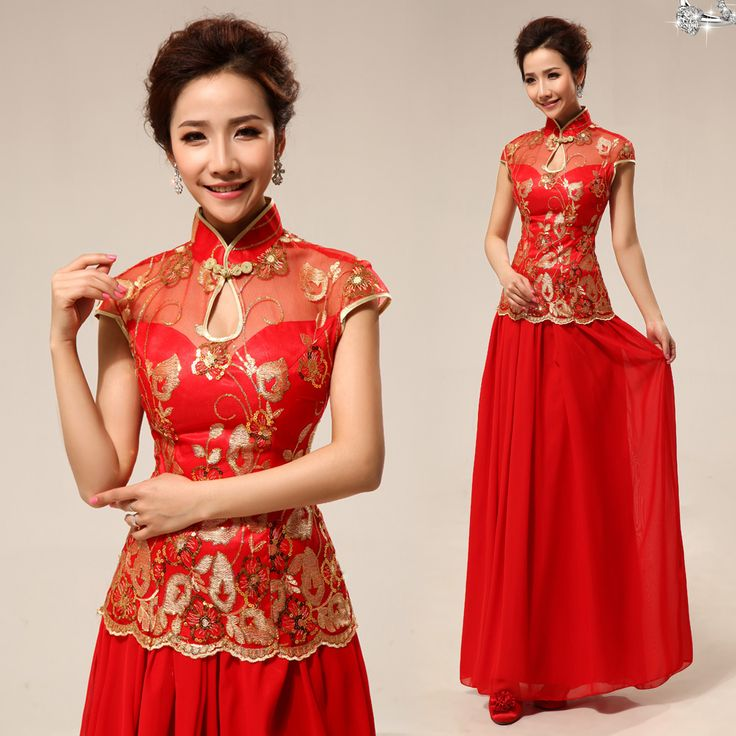 Mandarin collar gold sequins floral embroidered Chinese red qipao two piece set ankle length cheongsam wedding dress | Modern Qipao