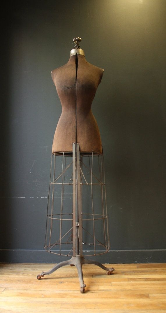 antique dress forms | Antique Victorian Dress Form with Metal Cage | Vintage Dress Forms ...