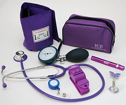 De color púrpura aumento de diseño de manchas de sangre de la presión acústica en Federación del trabajo electrónico de, el estetoscopio, de la luz de bolígrafos de tinta de (de bolígrafos de tinta de linterna que brilla en la), torniquete, diseño de flores y mariposas de la enfermera reloj de pulsera para mujer, retráctil de punta de bola - cuerda para colgar útiles de para tarjeta de identificación para tarjetas de aparcamiento para maletín de inicio a la juego de copas de #color #púrpura…