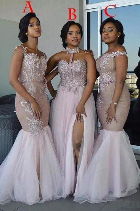 874b533c81f Mixed Style Long Lace Appliques Mermaid Tulle Blush Pink Long Bridesmaid  Dresses uk PH835