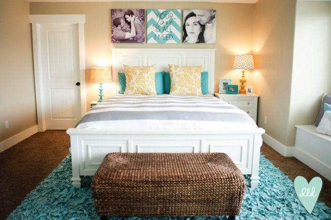 Aqua, Mustard, Teal & Grey Master Bedroom– Design Loves Detail