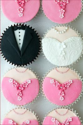 Wedding Dress and Tuxedo Cupcakes with Bridesmaids' Dress Cupcakes