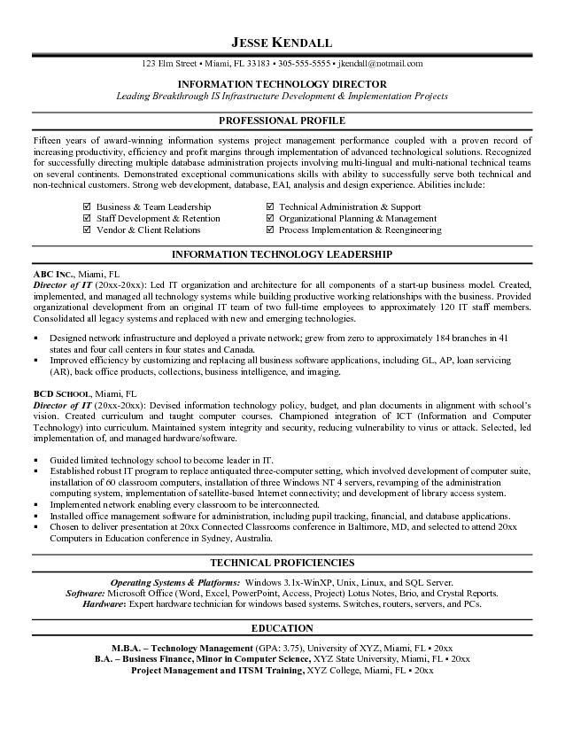 Director Of Information Technology Resume Sle