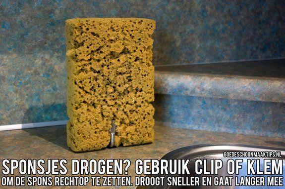 Droog sponsjes door ze rechtop te zetten in een clip of een klem. De spons is sneller droog en gaat langer mee. Meer tips vind je op www.goedeschoonmaaktips.nl