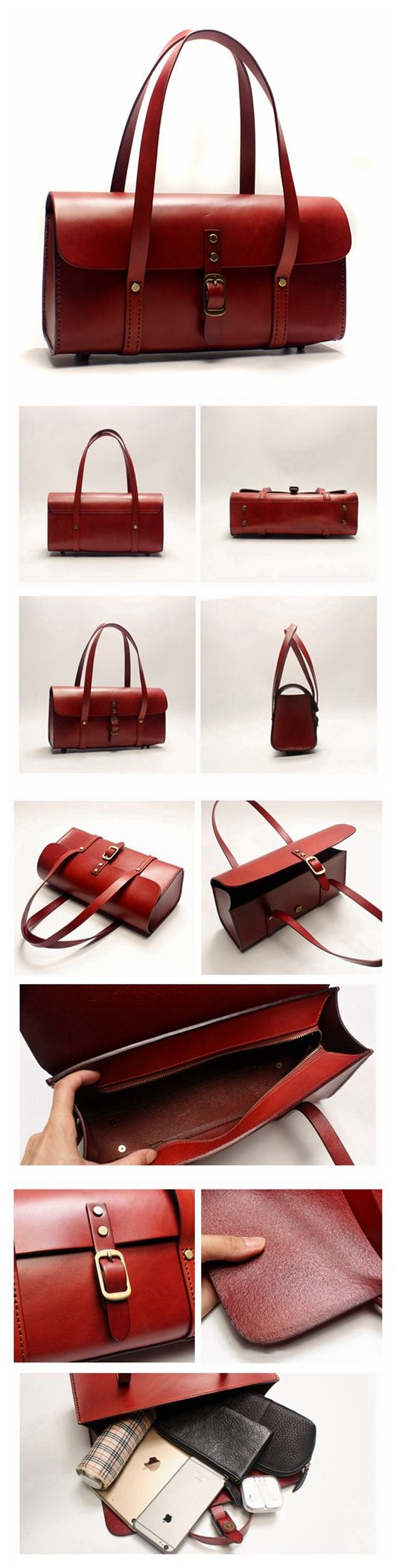 Handmade Awesome Vegetable Tanned Leather Barrel Bag Women's Fashion Handbag Shoulder Bag in Red SQ05--LISABAG