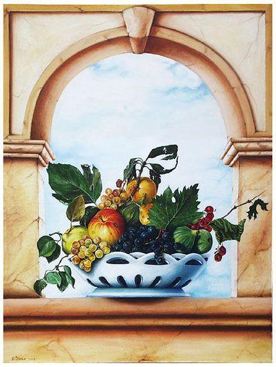 vaso con frutta - olio