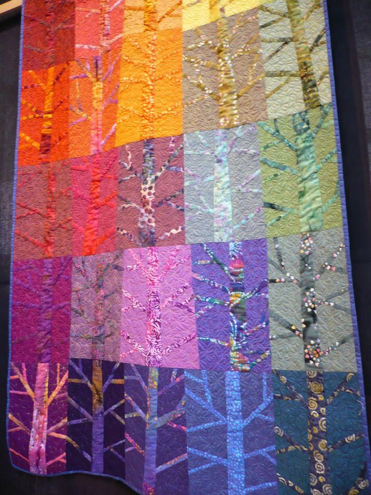 Tonal Trees Quilt. Textile art