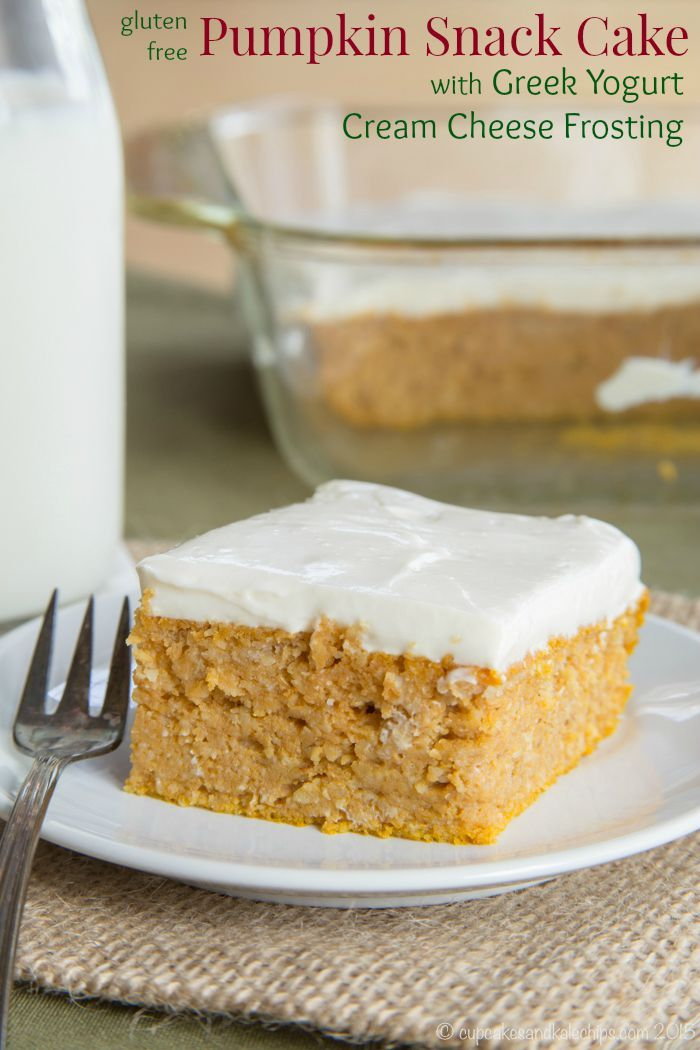 Gluten Free Pumpkin Snack Cake with Greek Yogurt Cream Cheese Frosting - a healthy sweet treat perfect for fall made with almond flour and oat flour, plus sugar free or no refined sugar options.