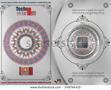 Abstract technology background; Processor Chip on circular metallic device nailed on steel board with screws; ornamental arabesques frames and arabesque rosette on scratched metallic background.