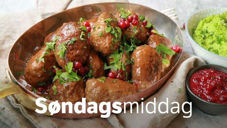 Kjøttkaker, brun saus og ertestuing er god norsk søndagsmiddag. Ertene i denne oppskriften er ikke stuet på den tradisjonelle måten med jevning av mel og melk. Men Lise Finckenhagen lover at denne kjappe måten å gjøre det på ikke står tilbake i smak og konsistens.