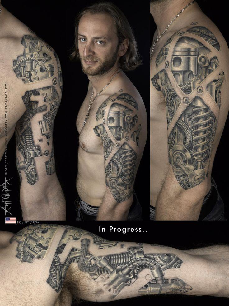Bio mechanical chest/arm tattoo | Bio mechanical Tattoos ...