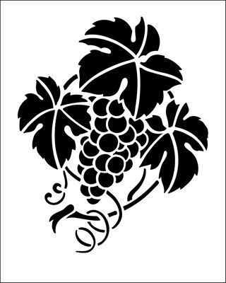 Grapes stencil from The Stencil Library BUDGET STENCILS range. Buy stencils online. Stencil code SS2.