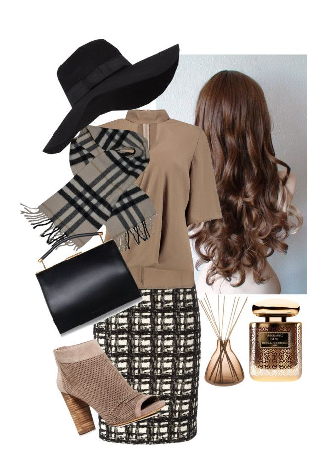 """""""Untitled #52"""" by dressedupprincess ❤ liked on Polyvore featuring Eggs, Boohoo, Vince Camuto, Burberry, San Diego Hat Co., Amara and By Terry"""