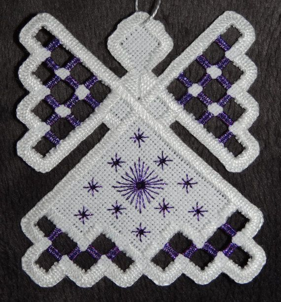 Hardanger Angel Ornament Purple Ruby by twistedthreads on Etsy, $11.00