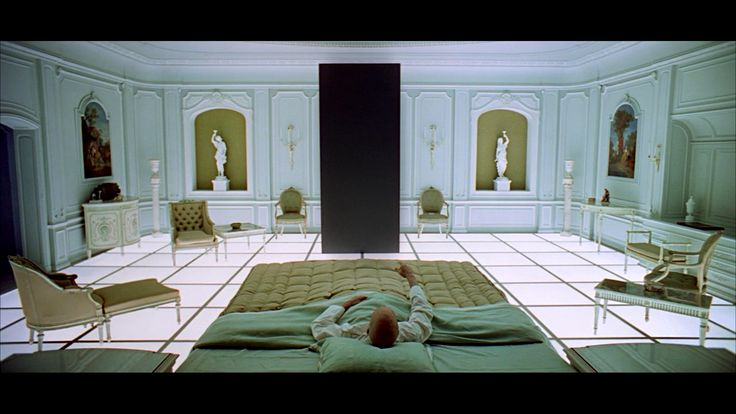 Pointing at a stone slab from your bed // 2001: A Space Odyssey // Kubrick