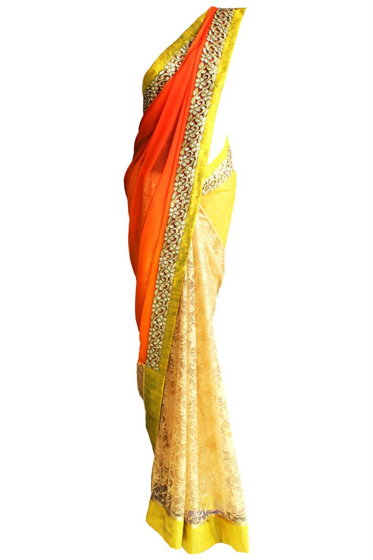 Orange and Pale Yellow Chiffon and Lace Saree  #yellowsaree #saree #lacesaree #chiffonsaree #orangesaree #indianfashion #scarletbindi