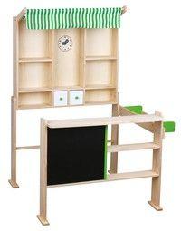 Beeboo Kaufladen hellgrün/weiß ohne Zubehör. Aus 100% FSC Holz. Maße 74 x68 x 97 cm. Interessante Au