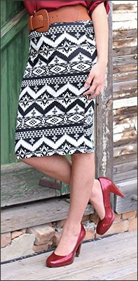Black Aztec Print Skirt