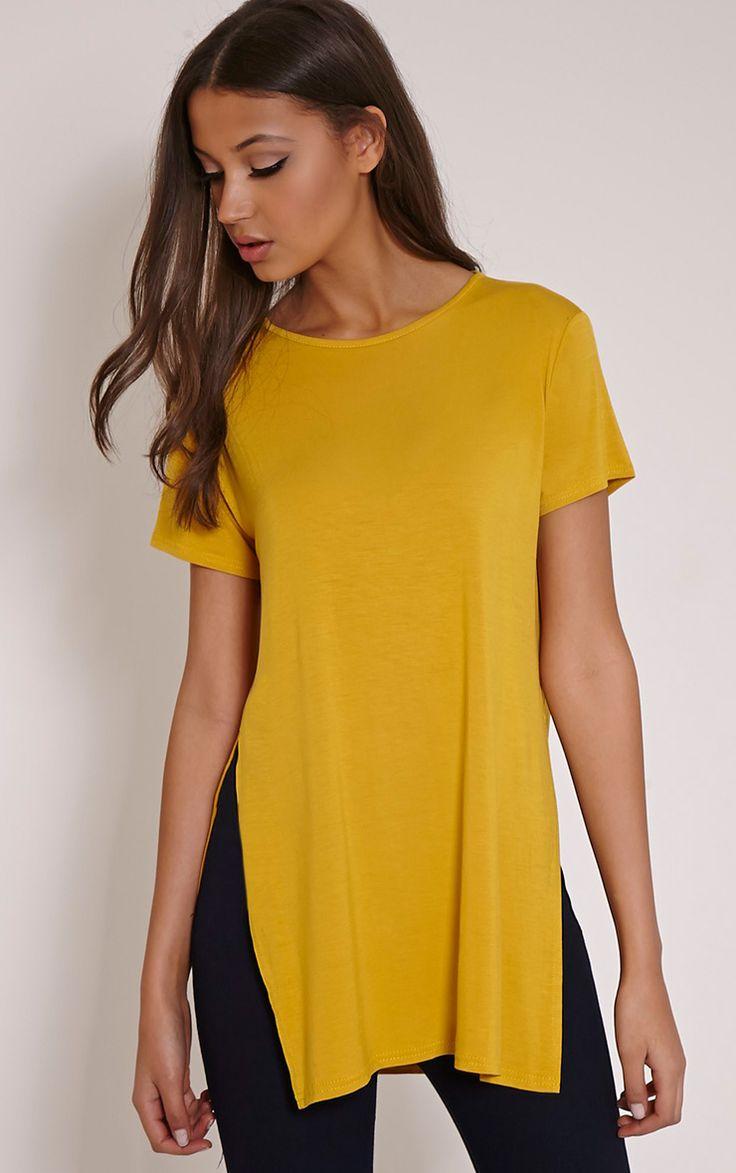 Basic Mustard Side Split T-Shirt Image 1