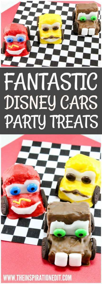 DISNEY CARS PARTY IDEA  - Make your own Lightening Mcqueen, Mater and Luigi Cars. DIsney Cars Food ideas. Krispy Treats to make with kids