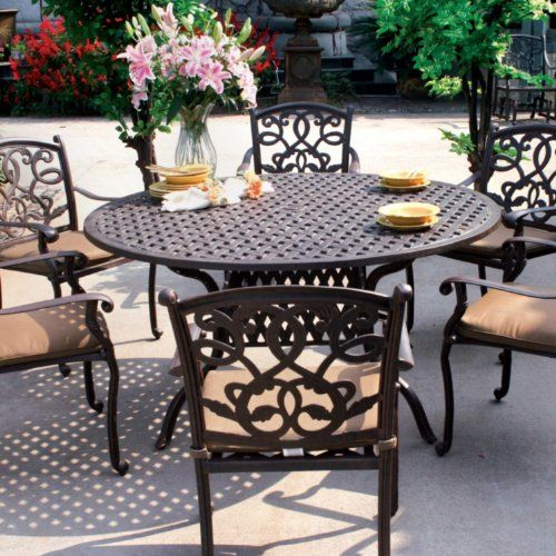 Darlee Santa Monica Cast Aluminum Outdoor Patio Dining Set With Cushions 60 Inch Round