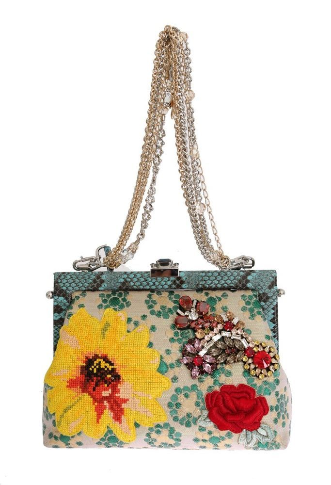 66c98f836301 Dolce   Gabbana Multicolor VANDA Floral Embroidered Crystal Bag Retail USD   5000  DolceGabbana
