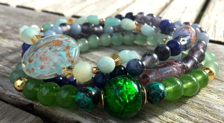 Aqua Venetiaanse Parel Armbanden door EarthbeadsByYasmy
