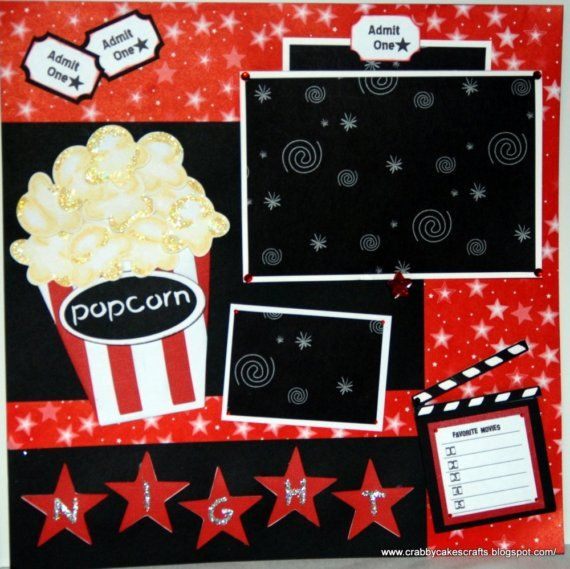 Custom Scrapbook 12x12 2 Page Movie Night Layout