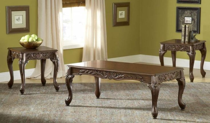 Carved Cherry Coffee Table Set by Serta Upholstery , Occasional Table Sets - Serta Upholstery, My Furniture Place