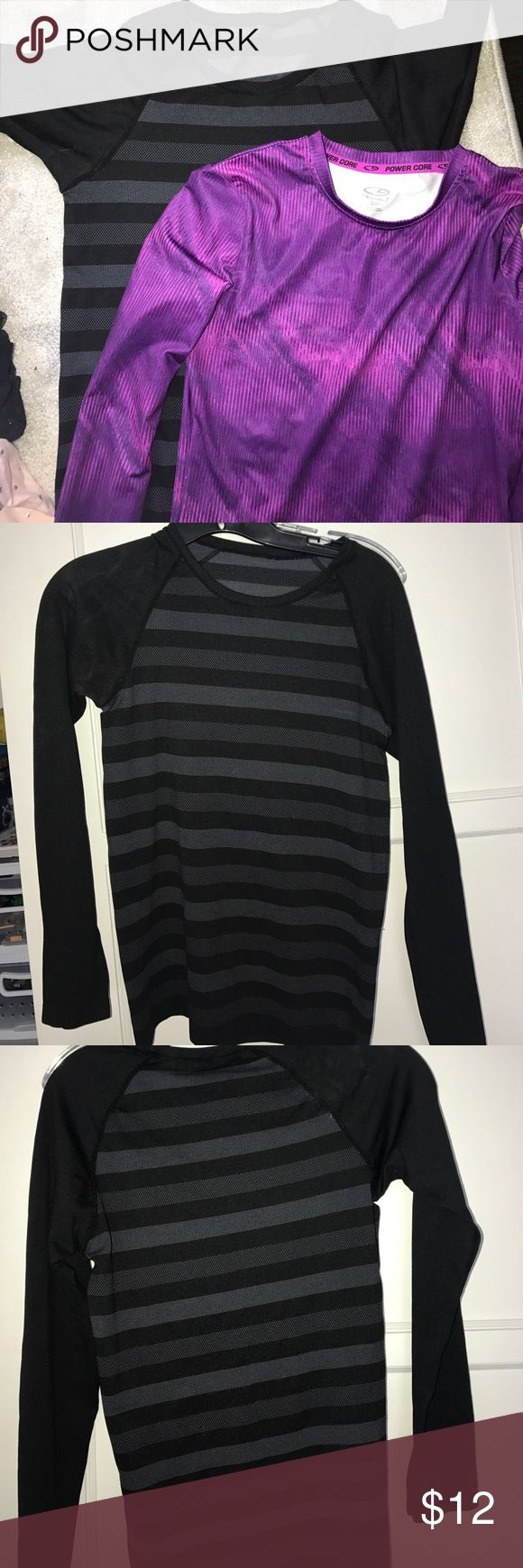 2 Champion long sleeved workout tops Size S black and grey striped long sleeve top, Size S purple long sleeved top, both perfect condition Champion Tops Tees - Long Sleeve