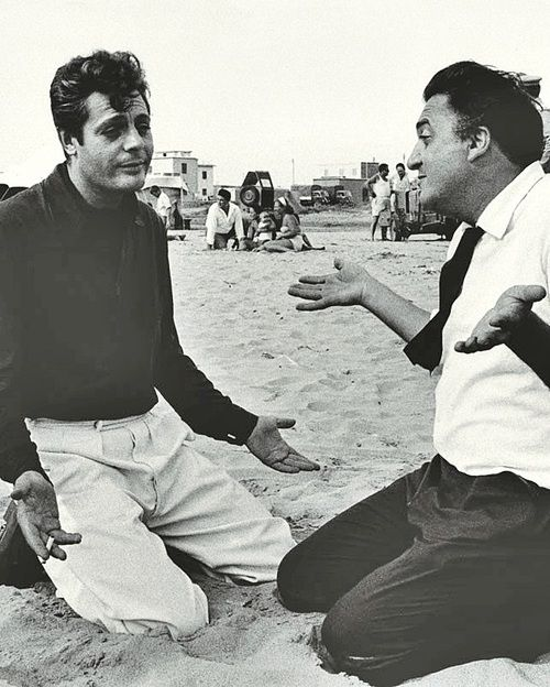 Marcello Mastroianni and Federico Fellini during the filming of La Dolce Vita, 1960