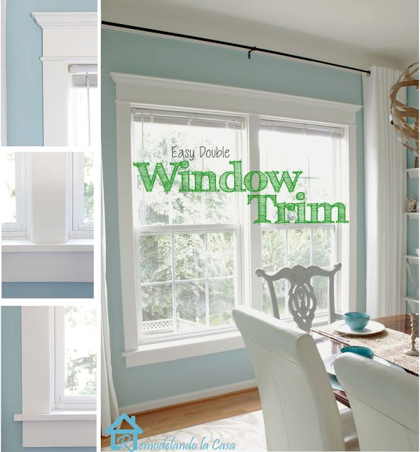 Remodelando la Casa  Tutorial on trimming window Using drapes with the windows trimmed out.