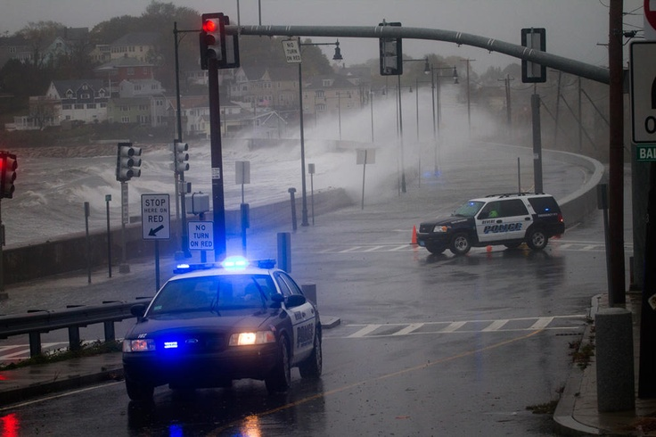 Revere Police blocking the road during a storm