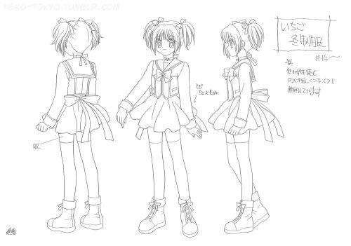 Tokyo Mew Mew Settei (Model Sheet)Ichigo Momomiya (School Uniform: Winter ver.)