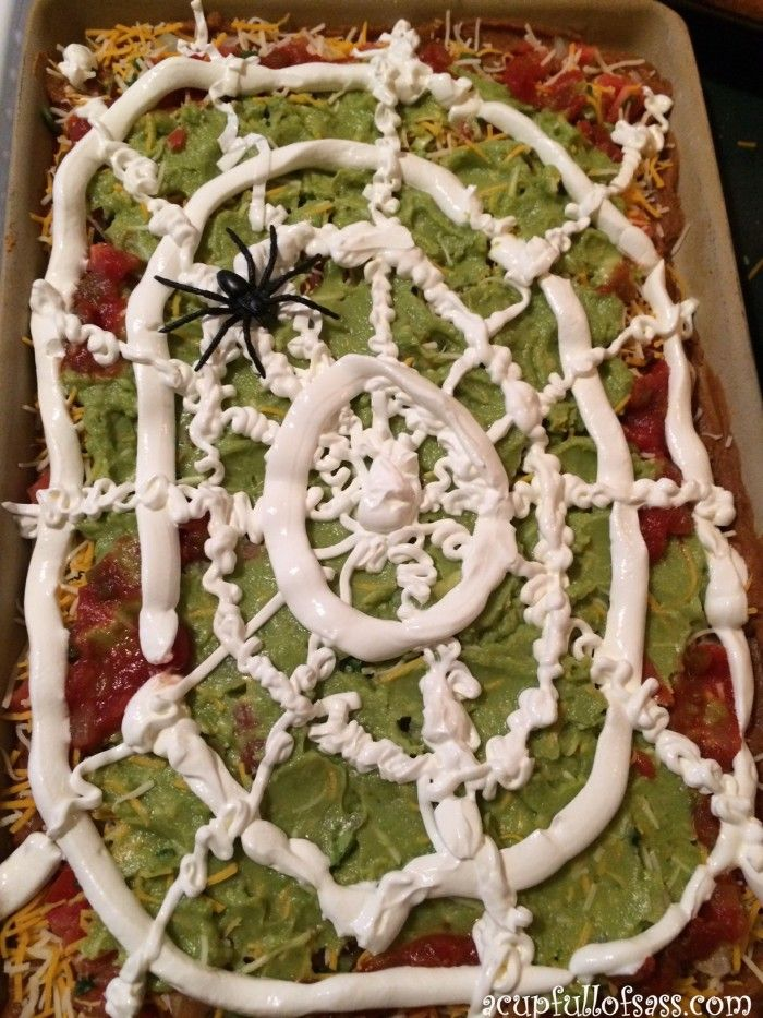 Spook your guest with this fun Halloween Taco Dip