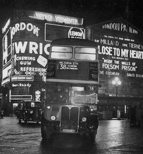 """ilovesoho:  """"#piccadillycircus 1950s #soho #london #ilovesoho #iheartsoho  """""""