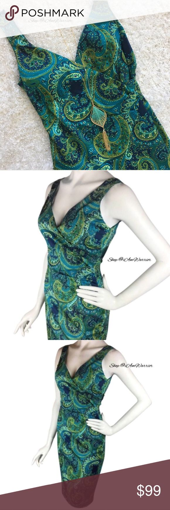 NWT teal paisley stretch satin beaded dress Beyond gorgeous teal print fitted Muse dress with ruched fitted silhouette. Has tiny beading throughout. Brand new with tags, never worn, smoke free house. Dress has lightly padded/lined bust so no bra is needed. A couple popped seams on kick pleat as shown (an easy fix w/ few quick stitches). Brand new with tags. Necklace not included. From Lord & Taylor, retailed at $174. Please read updated bio regarding closet policies prior to any inquires…
