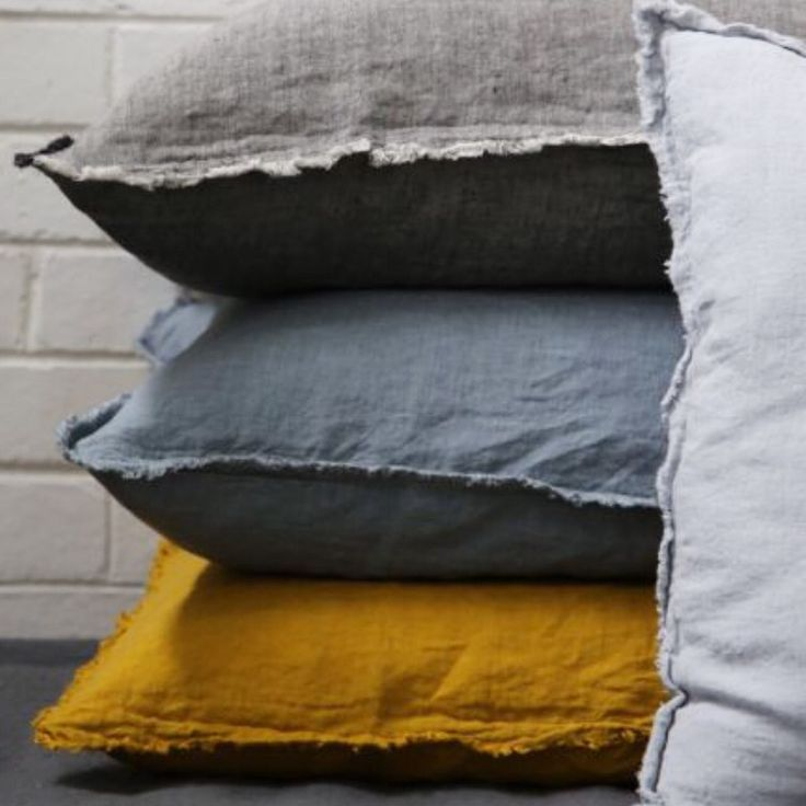 One of our favourite colour stories - HMCo pillows in Oro, Roy, Nox & Fog.
